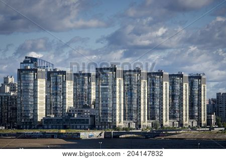 19TH SEPTEMBER 2012, ST PETERSBURG, RUSSIA - Modern apartment blocks along the coastline of Saint Petersburg Russia