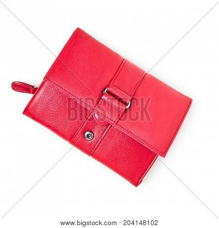 Female red wallet purse isolated on white background. Single object with clipping path top view flat lay