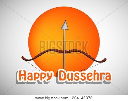 illustration of bow, arrow with Happy Dussehra text on the occasion of hindu festival Dussehra