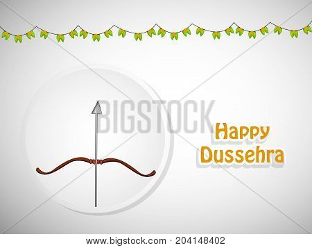 illustration of bow, arrow and decoration with Happy Dussehra text on the occasion of hindu festival Dussehra