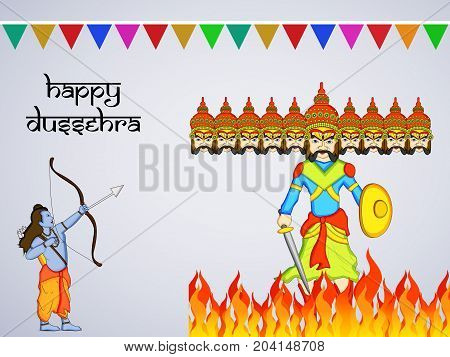 illustration of hindu god Ram and evil ravan with Happy Dussehra text on the occasion of hindu festival Dussehra