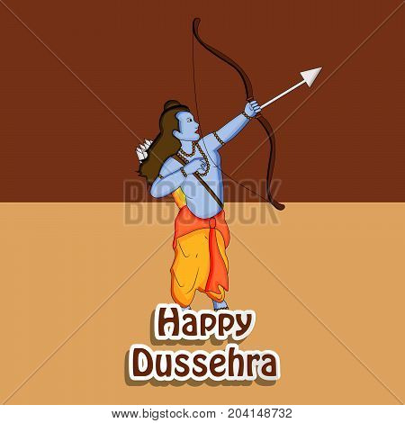 illustration of hindu god Ram, bow and arrow with Happy Dussehra text on the occasion of hindu festival Dussehra