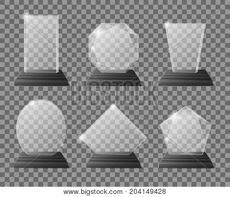 Set of empty glass trophy awards. Realistic vector illustration. Glossy transparent trophy for award illustration EPS 10