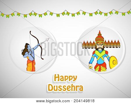 illustration of hindu god Ram, evil ravan and decoration with Happy Dussehra text on the occasion of hindu festival Dussehra