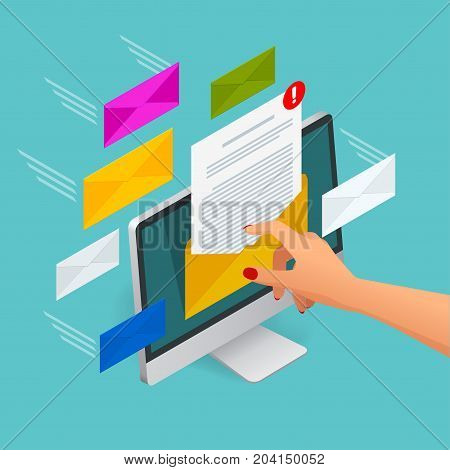 Incoming email isometric vector concept. Receiving messages. Laptop with envelope and document on a screen. Email, email marketing, internet advertising concepts