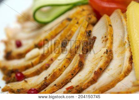 Beautiful sliced pork arrangement.  Shallow depth-of-field сlose up   meal