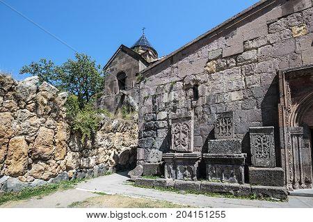 Armenia. The monastery complex Goshavank. Khachkars of the eleventh and twelfth centuries near the porch of the church Surb Astvatsatsin.
