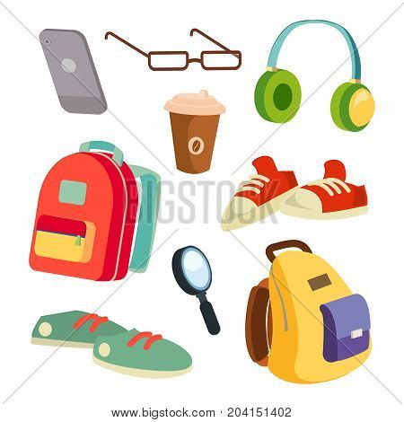 Students Items Accessories Set Vector. Colorful School Backpacks. Glasses, Phone, Coffee Mug, Sneakers, Headphones Magnifier Isolated