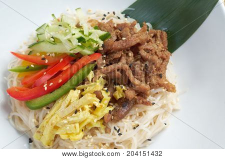 udon noodles with beef.Japanese cuisine   , close up traditional meal