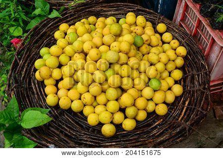 Selling Yellow Lemon On Street Market