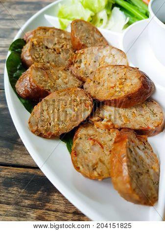 Northern Thai Spicy Sausage called Sai Aua.