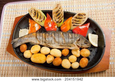 Grilled Trout .japanese cuisine  , close up  meal