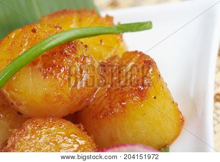 Baked scallops. traditional japanese food  , close up