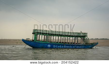 Wooden Boat On The Ganges River