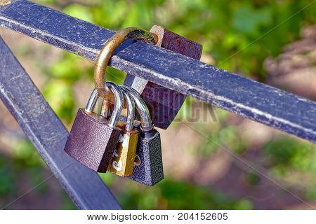 a set of old closed locks on an iron fence