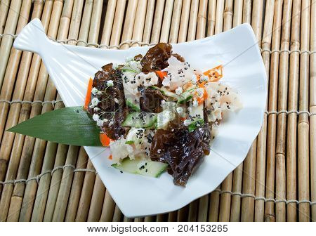 chinese cuisine .mix salad seaweed. , close up meal
