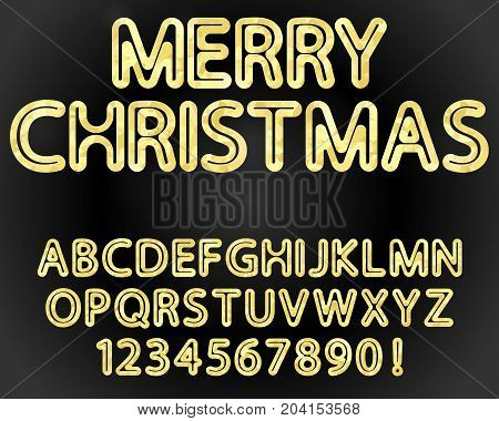 vector rounded font alphabet and numerals with gold foil texture