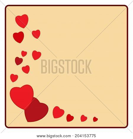 Heart card . Red sign on yellow background. Romantic symbol linked join love passion and wedding. Template for t shirt apparel card poster. Design element for valentine day. Vector illustration