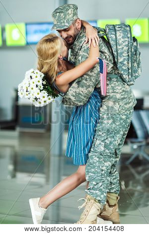 Wife Meeting Soldier In Airport