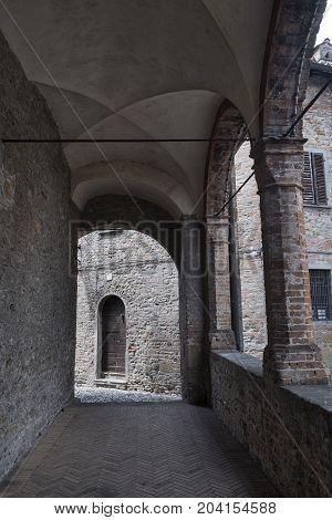 Castell'Arquato (Piacenza Emilia Romagna Italy) portico of the historic Santa Maria church