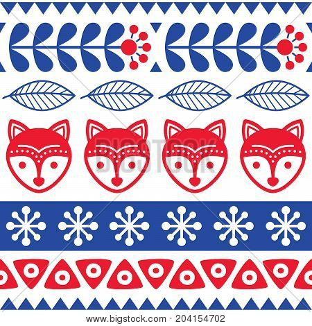 Scandinavian seamless vector folk art pattern - Finnish floral design with foxes, Nordic style
