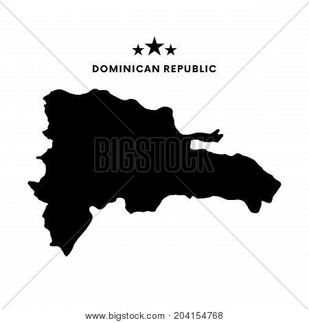 Dominican Republic map. Stars and text. Vector illustration.