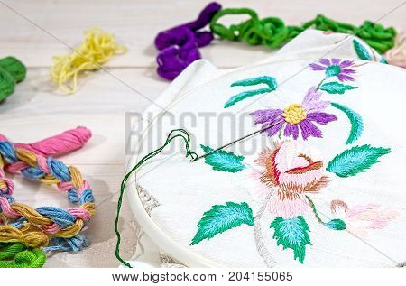Embroidery Flowers. Sewing accessories. Canvas hoop thread mouline. Needlework. Hand embroidery