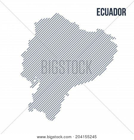 Vector Abstract Hatched Map Of Ecuador With Oblique Lines Isolated On A White Background.
