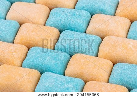 Chewing gum textured background close up colorful