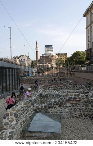 SOFIA, BULGARIA - AUGUST 09, 2017:Remains of the ancient Roman amphitheater in the center of Sofia Bulgaria.
