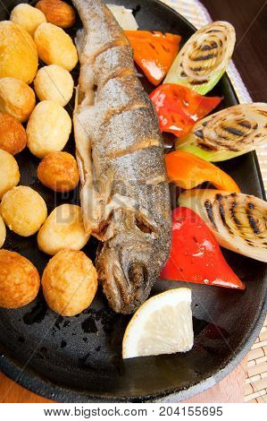 Grilled Trout .japanese cuisine  close up meal