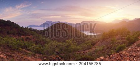 Mediterranean coast of Turkey and mountains at sunset