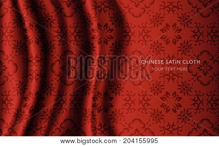 Traditional Red Chinese Silk Satin Fabric Cloth Background Curve Cross Vine Flower