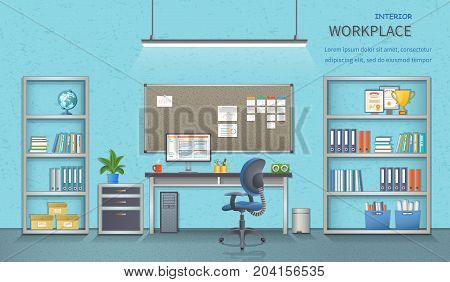 Stylish and modern office workplace. Room interior with desk, armchair, monitor, note-board, office supplies, flowerpot, globe, folders, documents. Detailed vector illustration for web banner.