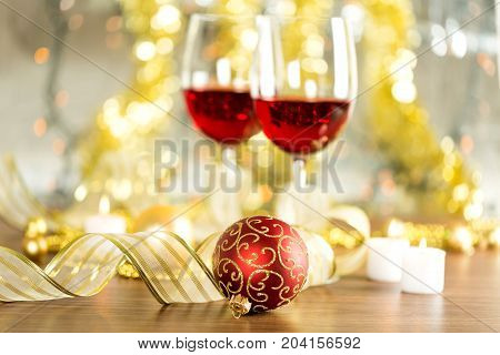 Red wine glasses bar color background ball