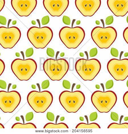 Seamless pattern half red apples. Fruit Background for print. Vector illustration
