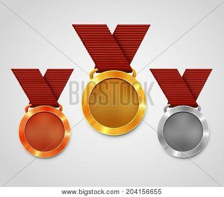 Three award medals with ribbons. Gold medal. Silver medal. Bronze medal. Championship award. Vector illustration