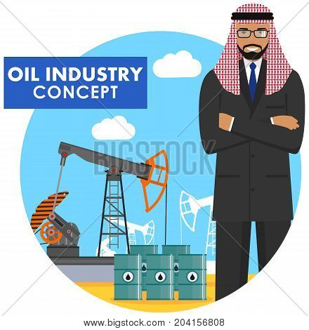 Detailed illustration of arab muslim businessman, oil pump and barrels with fuel in flat style on blue background.