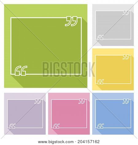 Text quote frame with long shadow consist of six pastel colored variant