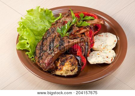 rack of lamb .cooking meat barbecue , close up meal