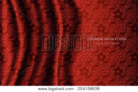 Traditional Red Chinese Silk Satin Fabric Cloth Background