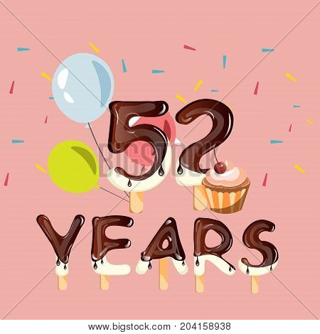 52 years Happy Birthday card. vector illustration