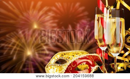 Wine glasses bar color background ball festive