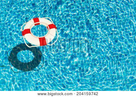 Blue water life surface lifebuoy buoy pool