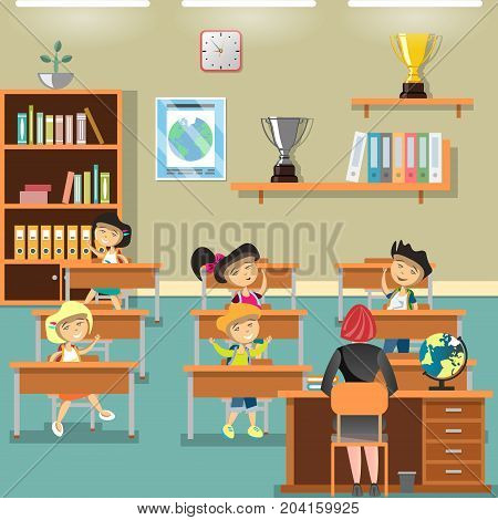 Children in classroom and raising hands. Vector illustration