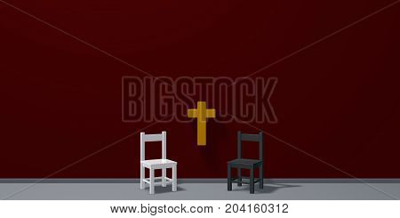 two chairs and christian cross - 3d rendering