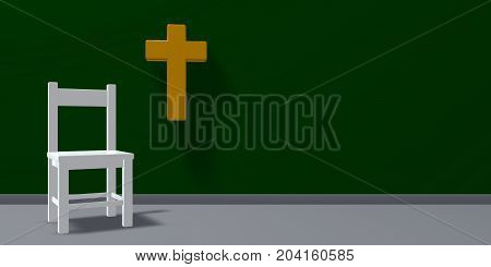 chair and christian cross - 3d rendering