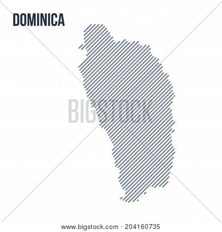 Vector Abstract Hatched Map Of Dominica With Oblique Lines Isolated On A White Background.