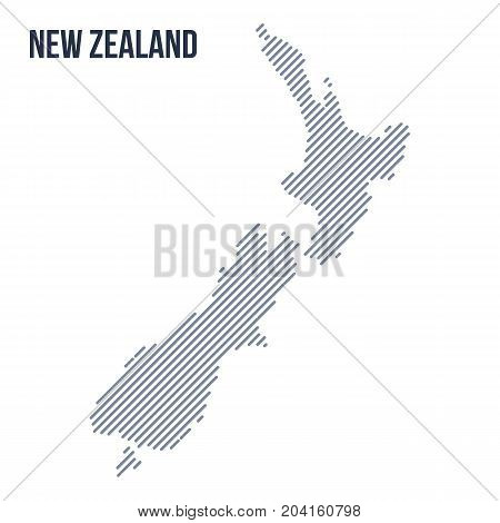 Vector Abstract Hatched Map Of New Zealand With Oblique Lines Isolated On A White Background.