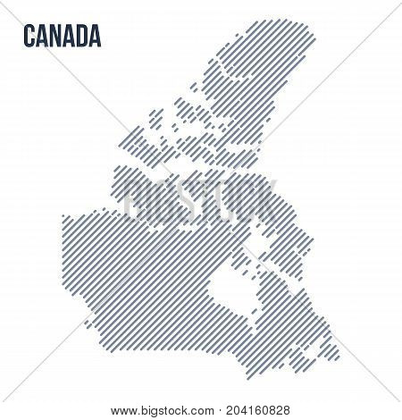 Vector Abstract Hatched Map Of Canada With Oblique Lines Isolated On A White Background.